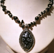 Gothic Style Silver Metal & Black Stone Pendant on Silver Metal & Obsidian Chain