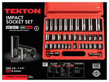 3/8, 1/2 Inch Drive 6-Point Impact Socket Set, 38-Piece 3/8 - 1-1/4 in., 8-32 mm
