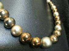 "Vintage goldtone bead Pearl Necklace  graduated multicolor   24"" jewelry"