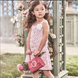 *MINT* $79 Janie & Jack Pink Tweed Boucle Dress w Flower Detail Girls Size 6