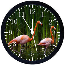 Beautiful Flamingos Black Frame Wall Clock Nice For Decor or Gifts Z96