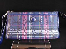 Coach Signature Poppy Tartan Plaid Zippy Wallet Wristlet F48149 RARE!!
