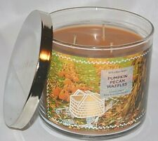BATH & BODY WORKS PUMPKIN PECAN WAFFLES ESSENTIAL OILS SCENTED 3 WICK CANDLE
