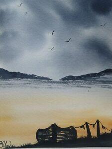 Original watercolour painting. At rest. Seascape, sands, sea.