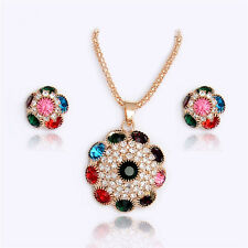 Turkish Multi Color Crystal Necklace Pendant Earring Women Fashion Jewelry Set