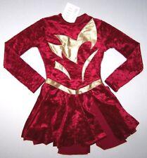 Nwt New Agiva Skate Dress Leotard Crushed Velvet Hologram Red Gold Cute Girl 6 7