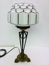 Art Deco Table Lamp, Brass & Iron Geometric Base W/ Decorated Skyscraper Shade
