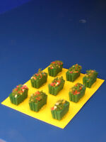 Vasi in legno verde rettangolari per plastici H0 - N pezzi 9 - KREA