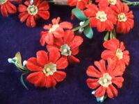 Vintage Millinery Flower Velvet Japan Y19 Lot of24 Red