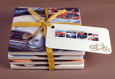 Sandstone Drink Coasters Vintage Auto / Old Cars Set of 4 Made in the USA
