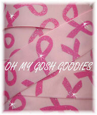 """3"""" TWINKLE GLITTER BREAST CANCER AWARENESS GROSGRAIN RIBBON 4 HAIRBOW PINK"""