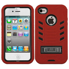 iPhone 4 4S Hybrid T Armor Hard Case Skin Cover w/Stand + Screen Protector