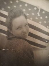 VINTAGE PHOTOBOOTH ARTISTIC TEEN GIRL BEAUTY AMERICAN FLAG STARS STRIPES PHOTO