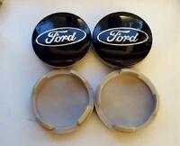 4x  58mm Ford noir argent jantes couvercle moyeux capuchon roue enjoliveur caché