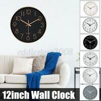 "12"" Wall Mounted Wall Clock Silent Indoor for Living Room Bedroom White Rose"