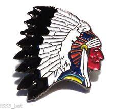 Native American Red Indian Wearing Headdress Wild West Cowboy Enamel Badge