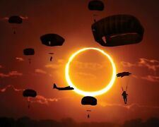 ILLUSTRATION* OF PARATROOPERS FILLING THE SKY DURING ECLIPSE 8X10 PHOTO (FB-002)