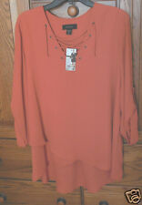 Karen Kane Orange Coral Lace Up, V-Neck, Faux Wrap, Roll Tab Sleeve Top, XL NWT