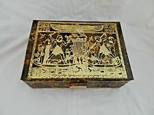 "Egyptian Camel Leather Jewelry Box Hunting Fishing Pharaoh 9.25"" X 6.5"" #150"