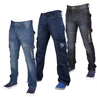 Enzo Mens Cargo Pants Jeans Combat Casual Denim Trousers All Waist & Leg Sizes