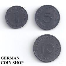 Set 1, 5 und 10 Reichspfennig Zink 1940 - 1945 - Drittes Reich Deutsches Reich