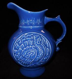Vintage 1968 McCoy Art Pottery Blue Turkey Cameo Pattern 64oz. Water Pitcher