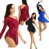 Lyrical Adult Women Contemporary Ballet Dance Dress Sequins Performance Leotard