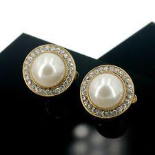 Boucles d'Oreilles CLIP ON NON Percé Gros Puces Perle Blanc 31mm Cristal J13