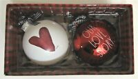 """Rae Dunn Set of 2 Ornaments """"OUR LOVE STORY"""" RED HEART NEW"""