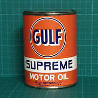 VINTAGE REPLICA GULF MOTOR OIL TIN CAN REPRODUCTION TIN CANS DISPLAY PROPS