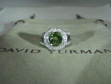 AUTHENTIC DAVID YURMAN ALBION STERLING SILVER 8MM PRIDOT DIAMOND RING SIZE 7