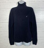 Nautica Navy Blue Ribbed Turtleneck Sweater Mens S