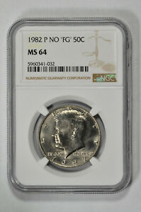 "1982 P NO ""FG"" 50c Kennedy Half Dollar NGC MS 64"