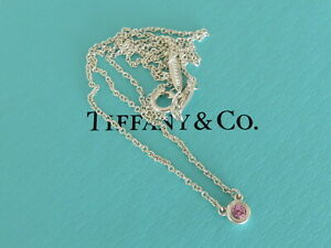 TIFFANY & CO Sterling Silver Pink Sapphire Color by the Yard Pendant Necklace