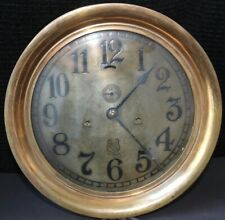 """Gigantic 12.5"""" Case, 10"""" FACE, Ashcroft Bronze Ships Clock in Working Condition"""