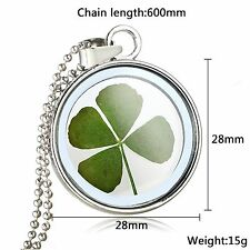 Medaillon Amulett Talisman Medallion Glücksbringer Glas Echt Blume Kleeblatt Neu