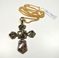 Jillian Michel Cross Crucifix Pendant Necklace Rhinestone Abstract
