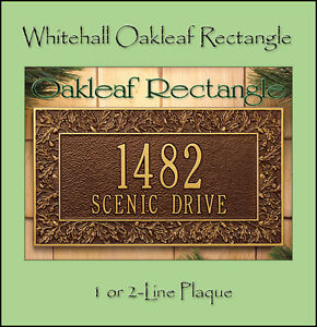 Whitehall Oakleaf Address Personalized Plaque Sign - 17 Color Choices Rust Free