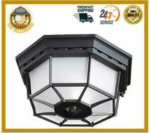 Motion Sensor Entryway Light Dusk to Dawn Metal Outdoor Porch Ceiling Mount SALE