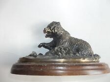 GRIZZLY BEAR FISHING BRASS STATUE
