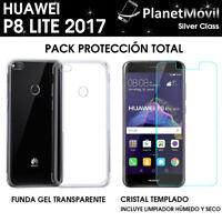 PACK FUNDA TRANSPARENTE + PROTECTOR CRISTAL VIDRIO TEMPLADO HUAWEI P8 LITE 2017