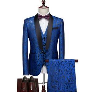 Mens Slim Fit Suits One Button 3Pcs Jacket+Vest+Pants Business Wedding Nightclub
