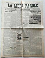 N928 La Une Du Journal la libre parole 8 juillet 1911 âme de vaincu conflit