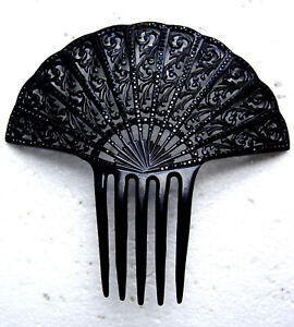 Art Deco hair comb black French jet hair accessory vanity item AS FOUND