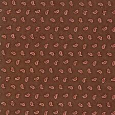 Moda Fabric Spice It Up Petite Paisley Medium Brown - Per 1/4 Metre