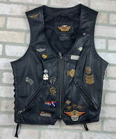 Womens Large Harley Davidson Leather Vest w/many Patches & Collectible Pins
