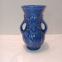 Vintage Shawnee Blue Raised Iris Vase. Read description