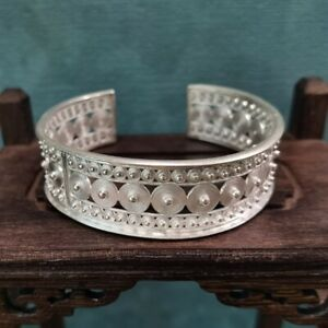 100% Handcrafted Miao Hmong Pure Silver Bracelet 999 Filigree Bangle 101