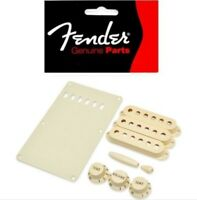 Genuine USA Fender Strat Guitar Accessory Kit Aged White KNOB PICKUP COVER PLATE