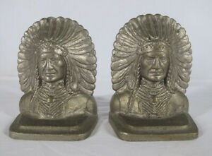 Antique 1920's Native American Indian Chief HEAVY Nickel Bookends 9.5 lbs NR yqz